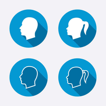 pigtail: Head icons. Male and female human symbols. Woman with pigtail signs. Circle concept web buttons. Vector