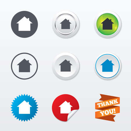 main: Home sign icon. Main page button. Navigation symbol. Circle concept buttons. Metal edging. Star and label sticker. Vector