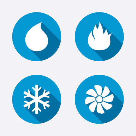 heating: HVAC icons. Heating, ventilating and air conditioning symbols. Water supply. Climate control technology signs. Circle concept web buttons. Vector