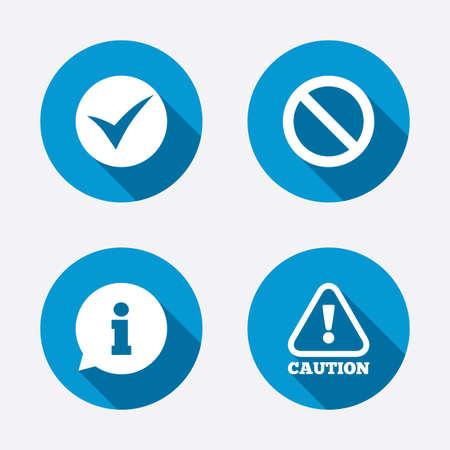 Icone di informazione. Smettere di divieto e l'attenzione cautela segni. Approvato segno di spunta. Cerchio concetto pulsanti web. Vettore Archivio Fotografico - 37764471