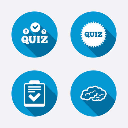 Quiz icons. Human brain think. Checklist symbol. Survey poll or questionnaire feedback form. Questions and answers game sign. Circle concept web buttons. Vector