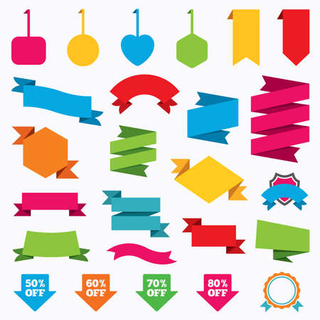 60 70: Web stickers, tags and banners. Sale arrow tag icons. Discount special offer symbols. 50%, 60%, 70% and 80% percent off signs. Template modern labels. Vector Illustration