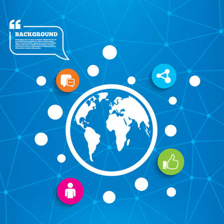 chat up: Abstract world globe. Social media icons. Chat speech bubble and Share link symbols. Like thumb up finger sign. Human person profile. Molecule structure background. Vector Illustration