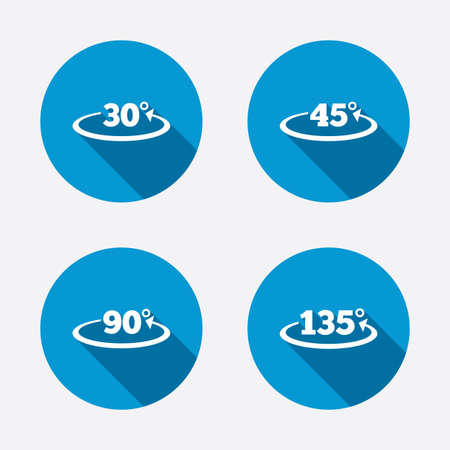 Angle 30-135 degrees icons. Geometry math signs symbols. Full complete rotation arrow. Circle concept web buttons. Vector