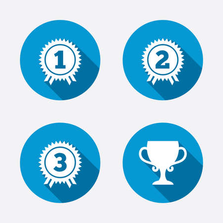at first: First, second and third place icons. Award medals sign symbols. Prize cup for winner. Circle concept web buttons. Vector
