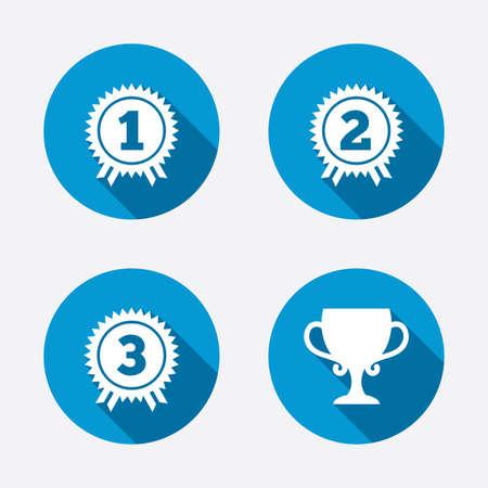 primer lugar: Primero, segundo y tercer lugar iconos. Medallas Premio firman s�mbolos. Taza Premio para el ganador. Botones concepto de web de c�rculo. Vector Vectores