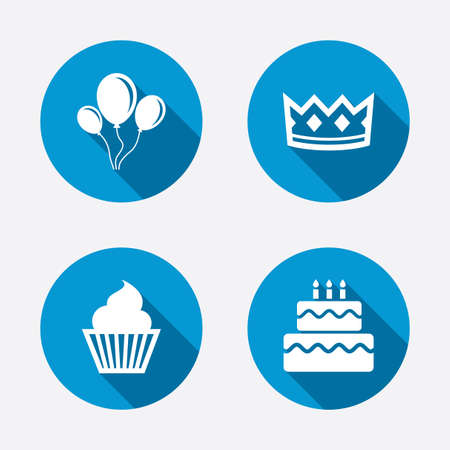 Birthday crown party icons. Cake and cupcake signs. Air balloons with rope symbol. Circle concept web buttons. Vector
