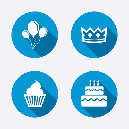pastel: Partidos iconos corona cumplea�os. La torta de la magdalena y signos. Globos de aire con el s�mbolo de la cuerda. Botones concepto de web de c�rculo. Vector Vectores