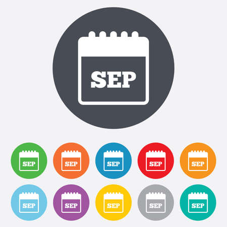 sep: Calendar sign icon. September month symbol. Round colourful 11 buttons. Vector