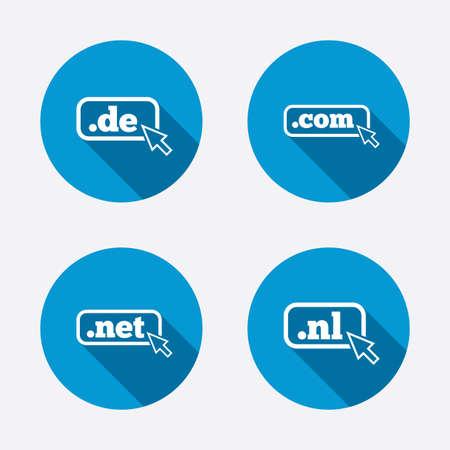 nl: Top-level internet domain icons. De, Com, Net and Nl symbols with cursor pointer. Unique national DNS names. Circle concept web buttons. Vector