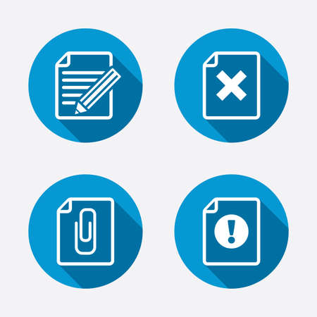 File attention icons. Document delete and pencil edit symbols. Paper clip attach sign. Circle concept web buttons. Vector Vector