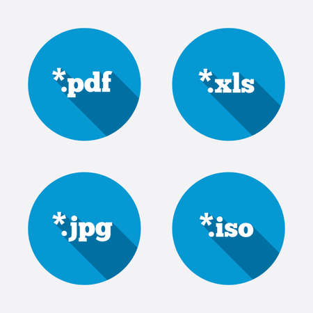 xls: Document icons. File extensions symbols. PDF, XLS, JPG and ISO virtual drive signs. Circle concept web buttons. Vector Illustration