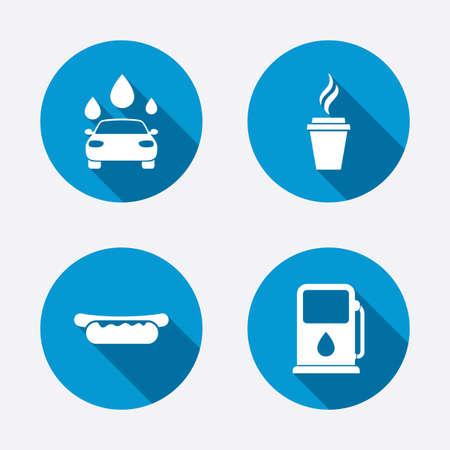 Benzin oder Dienstleistungen der Tankstellen-Icons. Automatische Waschanlage Zeichen. Hotdog-Sandwich und Tasse heißen Kaffee Symbole. Kreis-Konzept Web-Schaltflächen. Vektor Standard-Bild - 37861034