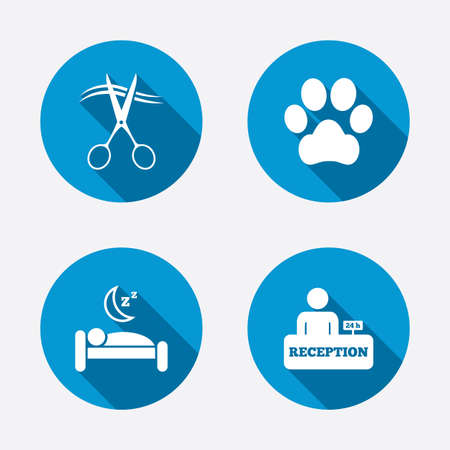 quiet room: Hotel services icons. With pets allowed in room signs. Hairdresser or barbershop symbol. Reception registration table. Quiet sleep. Circle concept web buttons. Vector