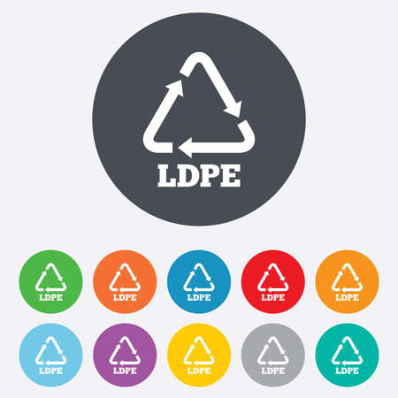 polyethylene: Ld-pe icon. Low-density polyethylene sign. Recycling symbol. Round colourful 11 buttons. Vector Illustration