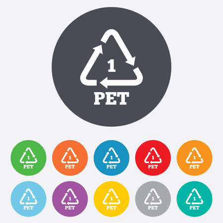 PET 1 icon. Polyethylene terephthalate sign. Recycling symbol. Bottles packaging. Round colourful 11 buttons. Vector