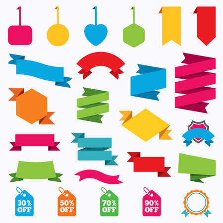 Web stickers, tags and banners. Sale price tag icons. Discount special offer symbols. 30%, 50%, 70% and 90% percent off signs. Template modern labels. Vector
