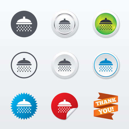 douche: Shower sign icon. Douche with water drops symbol. Circle concept buttons. Metal edging. Star and label sticker. Vector
