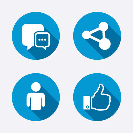 communication icon: Social media icons. Chat speech bubble and Share link symbols. Like thumb up finger sign. Human person profile. Circle concept web buttons. Vector