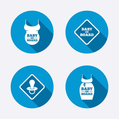 big belly: Baby on board icons. Infant caution signs. Child pacifier nipple. Pregnant woman dress with big belly. Circle concept web buttons. Vector Illustration