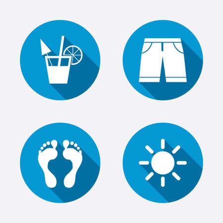 swimming trunks: Beach holidays icons. Cocktail, human footprints and swimming trunks signs. Summer sun symbol. Circle concept web buttons. Vector