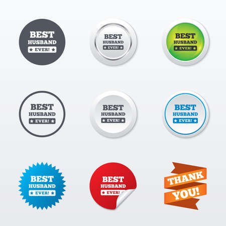 Best husband ever sign icon. Award symbol. Exclamation mark. Circle concept buttons. Metal edging. Star and label sticker. Vector Vector