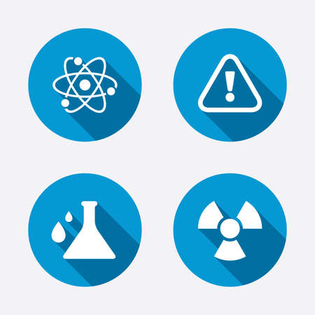 Attention and radiation icons. Chemistry flask sign. Atom symbol. Circle concept web buttons. Vector Vector
