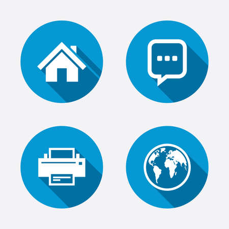 Home main page and globe icons. Printer and chat speech bubble with suspension points sign symbols. Circle concept web buttons. Vector Vector