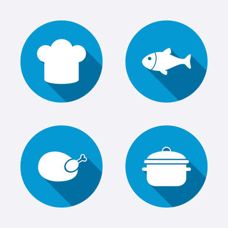stew: Chief hat and cooking pan icons. Fish and chicken signs. Boil or stew food symbol. Circle concept web buttons. Vector Illustration