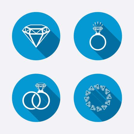 mariage: Bagues ic�nes. Bijoux avec des signes �clat de diamant. Mariage ou de fian�ailles symboles. Circle Buttons notion Web. Vecteur