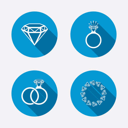 Rings icons. Jewelry with shine diamond signs. Wedding or engagement symbols. Circle concept web buttons. Vector Vector