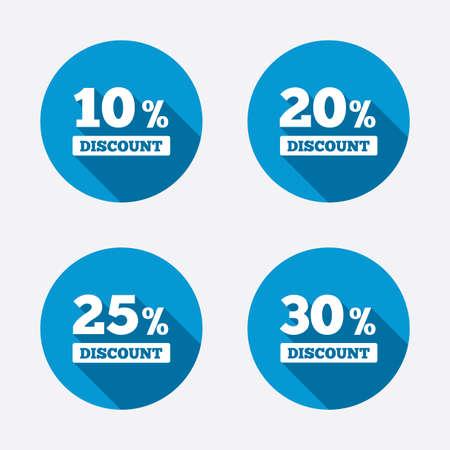 販売割引アイコン。特別提供価格の兆候。10、20、25、30 パーセント削減記号オフ。サークル コンセプトの web ボタン。ベクトル