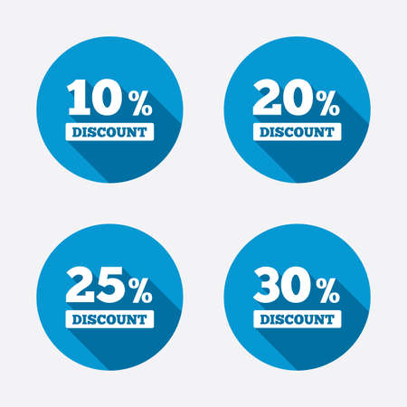 Sale discount icons. Special offer price signs. 10, 20, 25 and 30 percent off reduction symbols. Circle concept web buttons. Vector Ilustração
