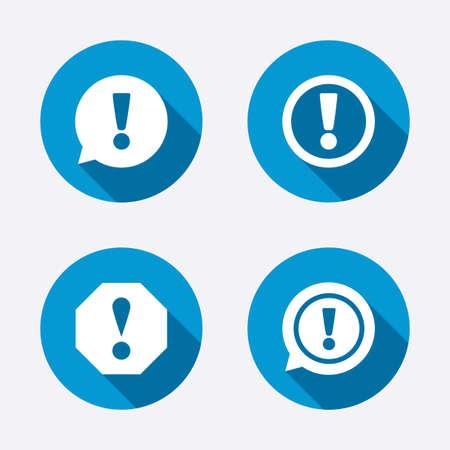Aandacht pictogrammen. Uitroepteken tekstballon symbolen. Voorzichtigheid borden. Cirkel concept knoppen. Vector