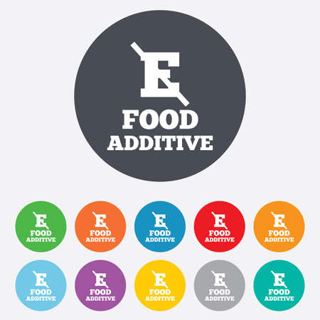 additive: Food additive sign icon. Without E symbol. Healthy natural food. Round colourful 11 buttons. Vector