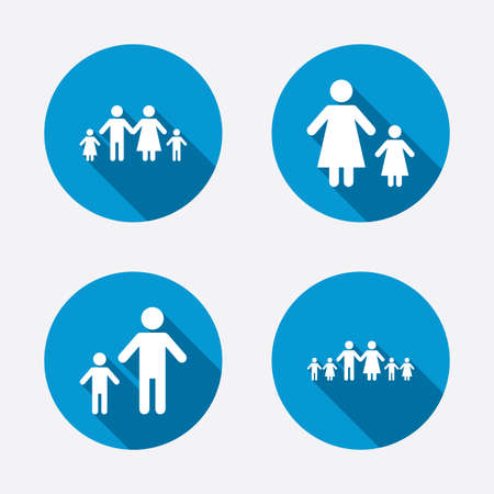 one parent: Large family with children icon. Parents and kids symbols. One-parent family signs. Mother and father divorce. Circle concept web buttons. Vector Illustration