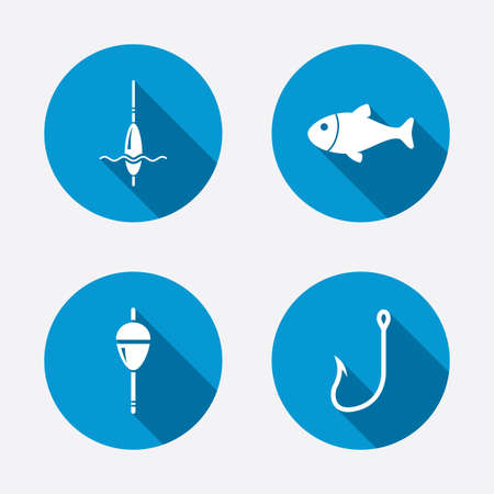 bobber: Fishing icons. Fish with fishermen hook sign. Float bobber symbol. Circle concept web buttons. Vector