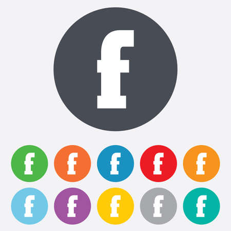 facebook: Lowercase letter F icon. Small character sign symbol. Round colourful 11 buttons. Vector