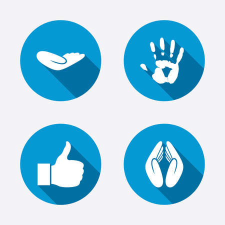 prayer hands: Hand icons. Like thumb up symbol. Insurance protection sign. Human helping donation hand. Prayer hands. Circle concept web buttons. Vector Illustration