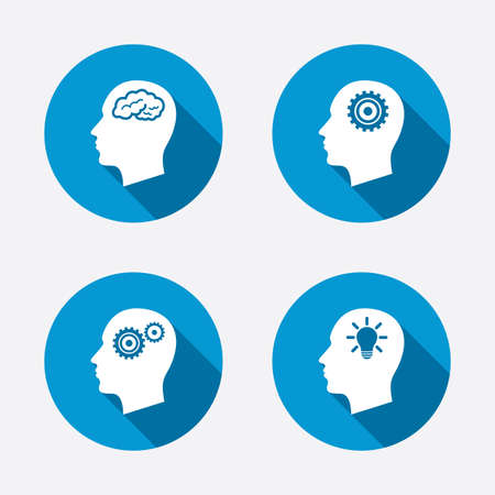 think heads: Head with brain and idea lamp bulb icons. Male human think symbols. Cogwheel gears signs. Circle concept web buttons. Vector