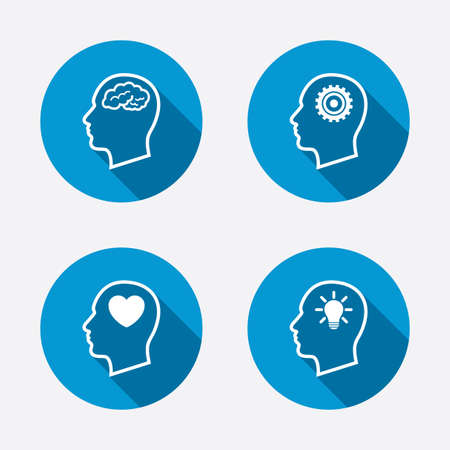 mente: Cabeza con cerebro y lámpara iconos idea de bulbo. Masculino think símbolos humanos. Engranajes de cremallera, signos. Amor corazon. Botones concepto de web de círculo. Vector Vectores