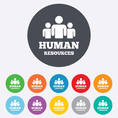 hr: Human resources sign icon. HR symbol. Workforce of business organization. Group of people. Round colourful 11 buttons. Vector