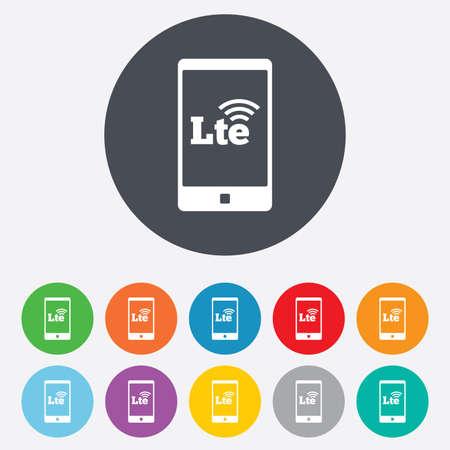 tecnologia comunicacion: Se�al 4G LTE en icono de tel�fono inteligente. Largo Plazo signo evoluci�n. S�mbolo de la tecnolog�a de comunicaci�n inal�mbrica. Ronda de colores 11 botones. Vector