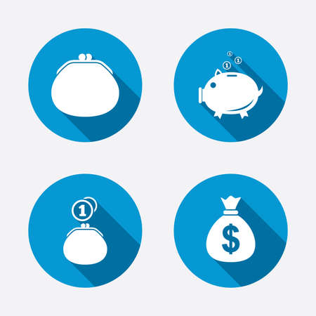 debt collection: Happy Motherss Day icons. Wallet with cash coin and piggy bank moneybox symbols. Dollar USD currency sign. Circle concept web buttons. Vector