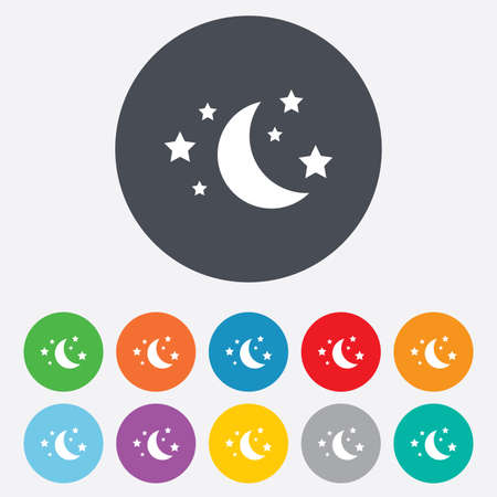 bed time: Moon and stars icon. Sleep dreams symbol. Night or bed time sign. Round colourful 11 buttons. Vector Illustration