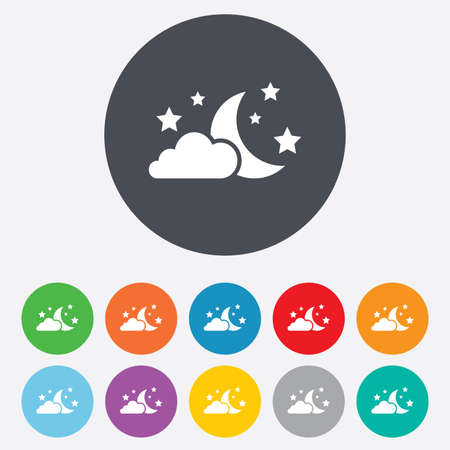 Moon, clouds and stars icon. Sleep dreams symbol. Night or bed time sign. Round colourful 11 buttons. Vector