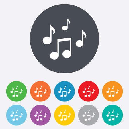 notas musicales: Notas de la m�sica icono de la muestra. S�mbolo musical. Ronda de colores 11 botones. Vector