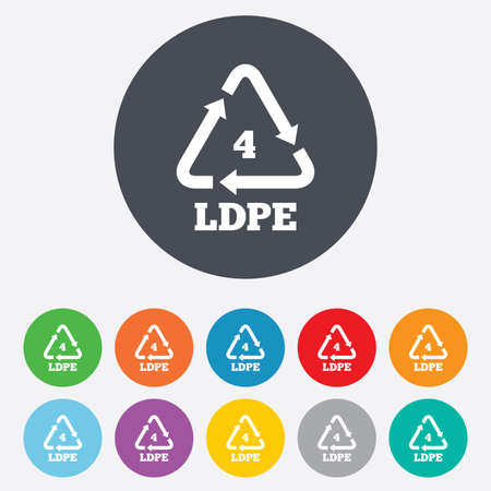 monomer: Ld-pe 4 icon. Low-density polyethylene sign. Recycling symbol. Round colourful 11 buttons. Vector
