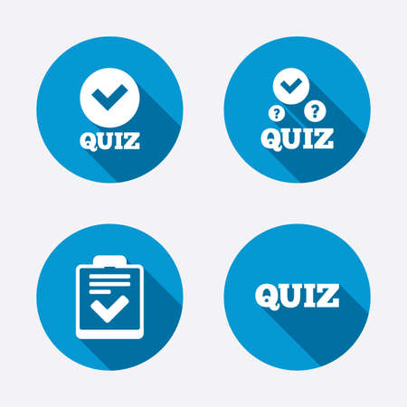 Quiz icons. Checklist with check mark symbol. Survey poll or questionnaire feedback form sign. Circle concept web buttons. Vector