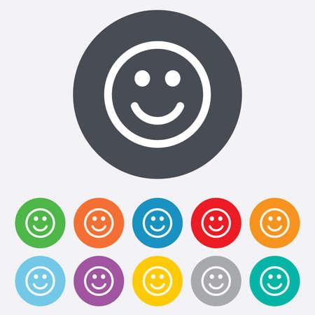 carita feliz: Sonrisa icono de la muestra. Feliz s�mbolo cara de chat. Ronda de colores 11 botones. Vector